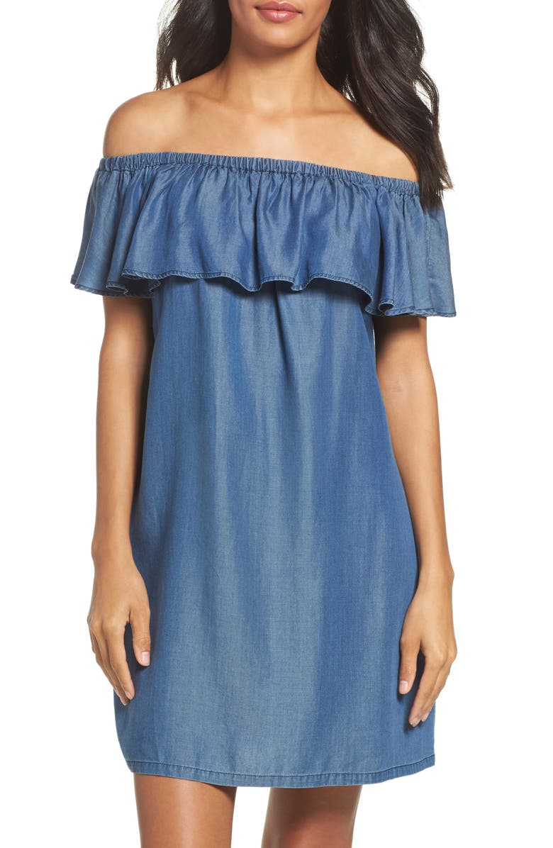 TOMMY BAHAMA Off the Shoulder Chambray Cover-Up Dress, Main, color, 400