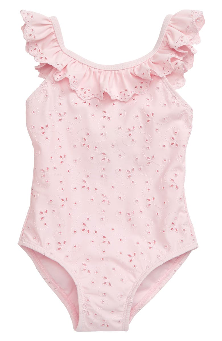 LITTLE ME Eyelet One-Piece Swimsuit, Main, color, 650