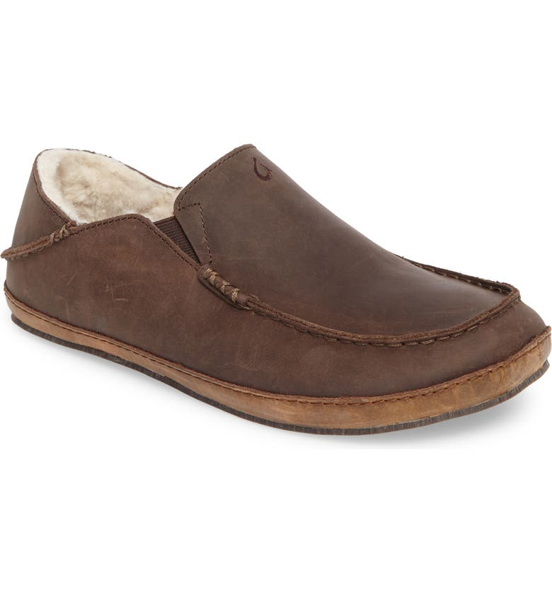 OLUKAI 'Moloa' Genuine Shearling Slipper, Main, color, DARK WOOD LEATHER