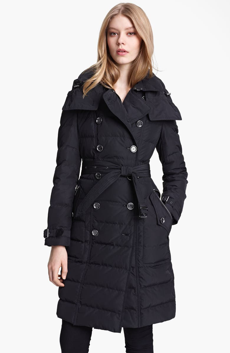 BURBERRY BRIT Channel Quilted Down Coat, Main, color, Black