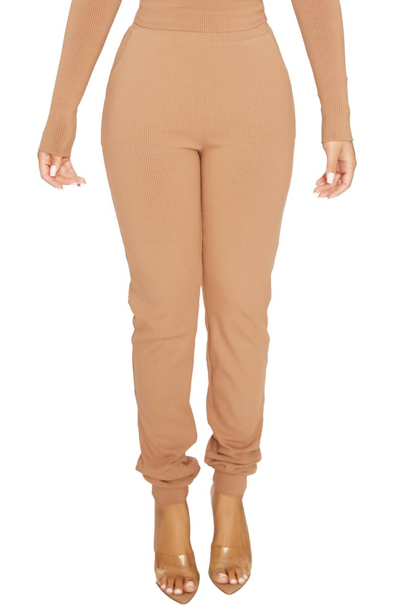 NAKED WARDROBE Snatched High Waist Ribbed Joggers, Main, color, COCO