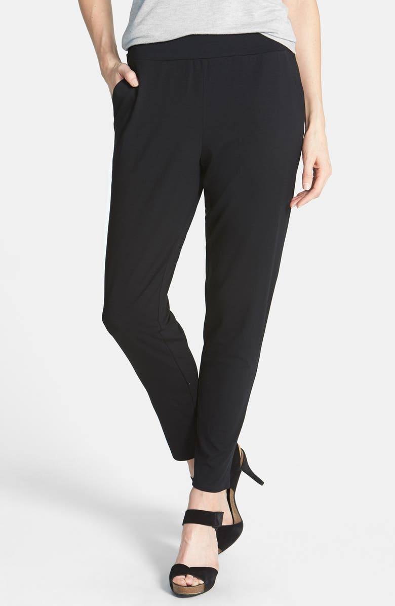 EILEEN FISHER Slouchy Tapered Pants, Main, color, 001