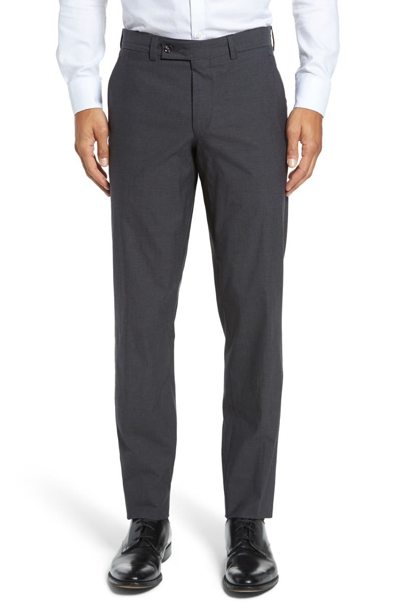 TED BAKER LONDON Jerome Flat Front Stretch Solid Cotton Trousers, Main, color, 010