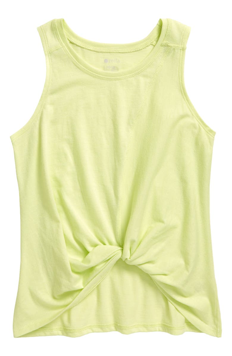 ZELLA GIRL Knot Tank, Main, color, GREEN BUTTERFLY