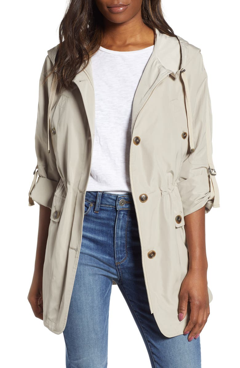 GALLERY Fitted Hooded Raincoat, Main, color, 273