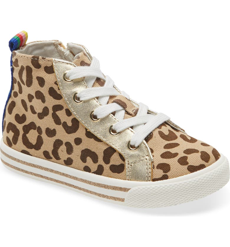 MINI BODEN Leopard Print Canvas High Top Sneaker, Main, color, LEOPARD CANVAS