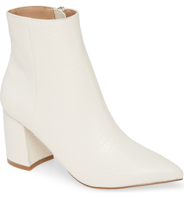 STEVE MADDEN Nadalie Pointed Toe Bootie, Main, color, LIGHT BONE CROCO