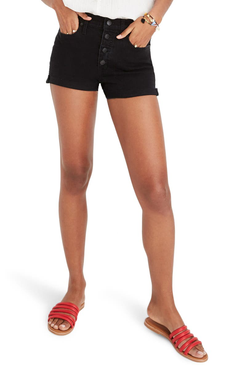 MADEWELL Button Front High Waist Shorts, Main, color, 001