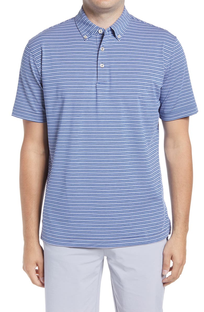 PETER MILLAR Georgetown Stripe Button-Down Performance Polo, Main, color, NAVY