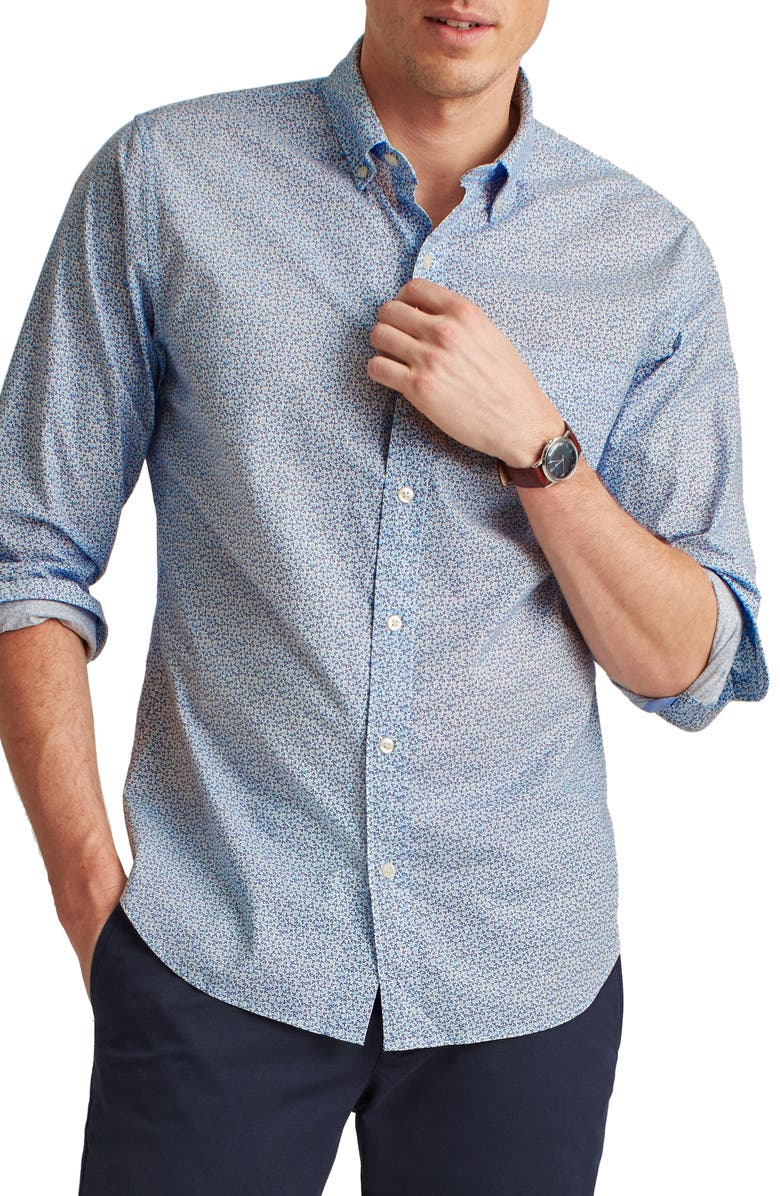 BONOBOS Slim Fit Washed Stretch Cotton Button-Down Shirt, Main, color, MICRO ANCHOR