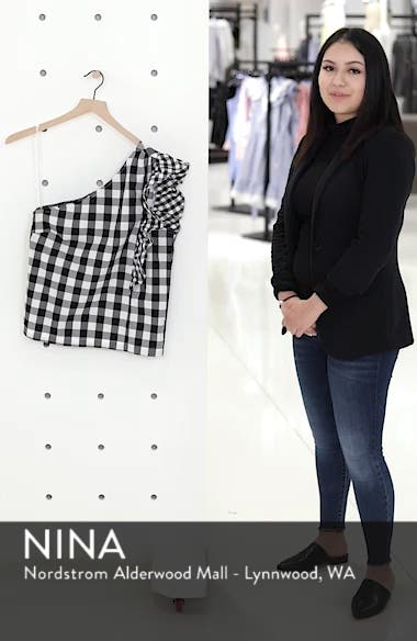 Maybe One-Shoulder Mix Gingham Top, sales video thumbnail