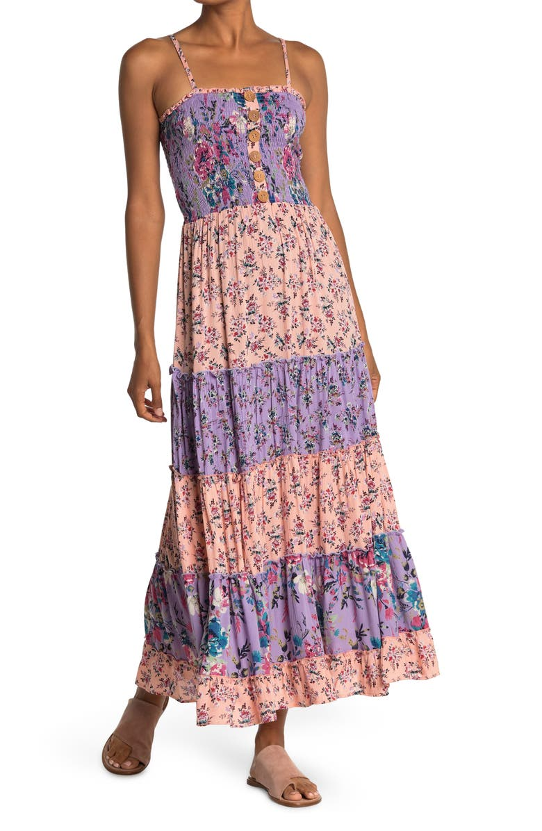 ANGIE Smocked Bodice Floral Print Maxi Dress, Main, color, BLUSH