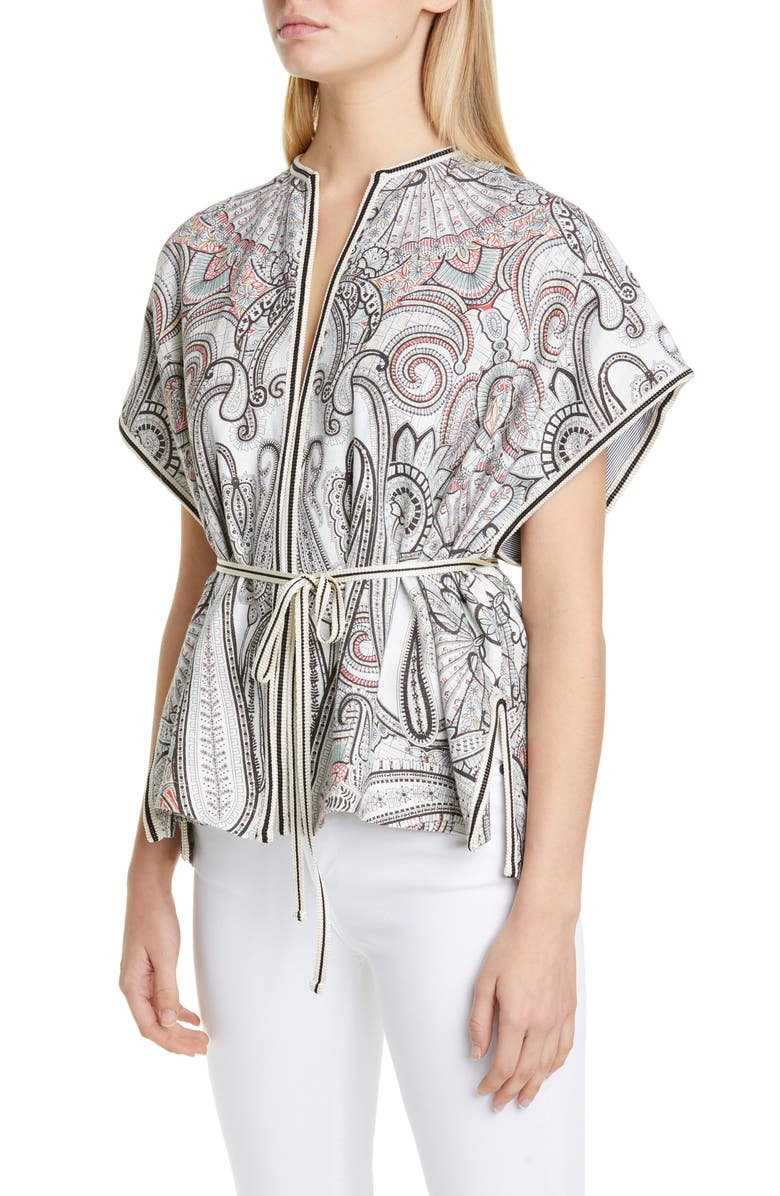 ETRO Belted Reversible Cap Sleeve Jacket, Main, color, 100