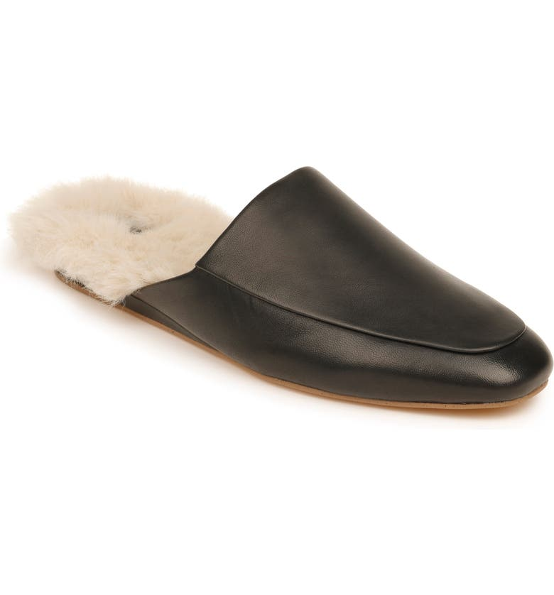 ZAC ZAC POSEN Winfield Faux Shearling Mule, Main, color, BLACK NAPPA LEATHER