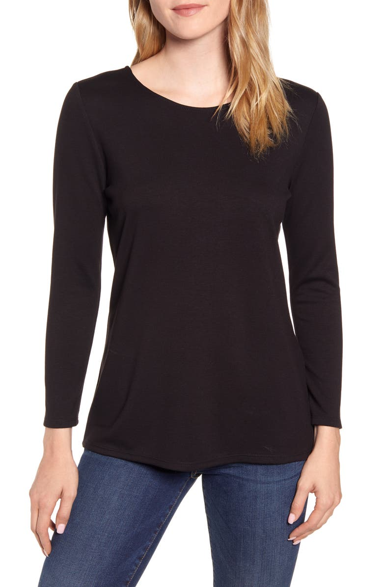 GIBSONLOOK Gibson Baby Ponte Bow Back Long Sleeve Top, Main, color, 001