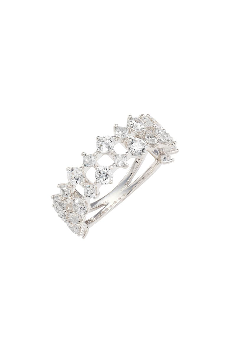 NADRI Faux Stack Pattern Ring - Size 7, Main, color, RHODIUM