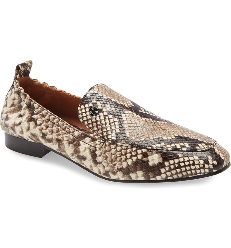TORY BURCH Kira Snake Embossed Stretch Travel Loafer, Main, color, WARM ROCCIA