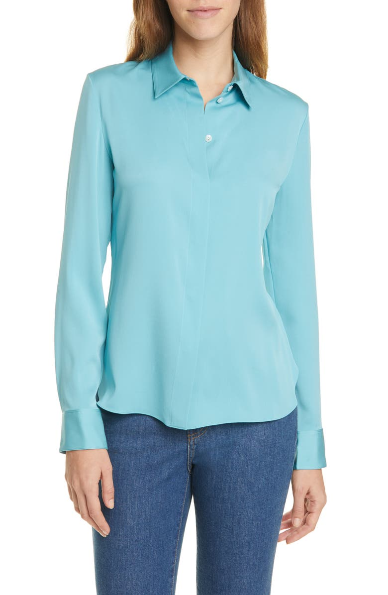 THEORY Classic Fitted Stretch Silk Shirt, Main, color, 333