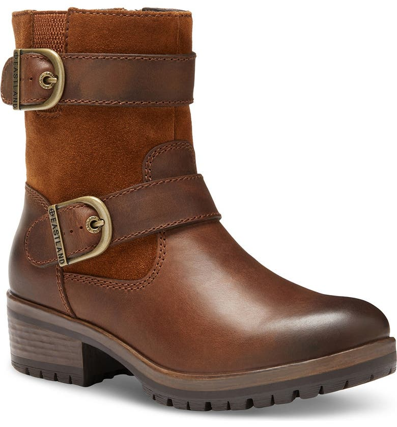 EASTLAND Gracie Leather Double Buckle Boot, Main, color, BROWN