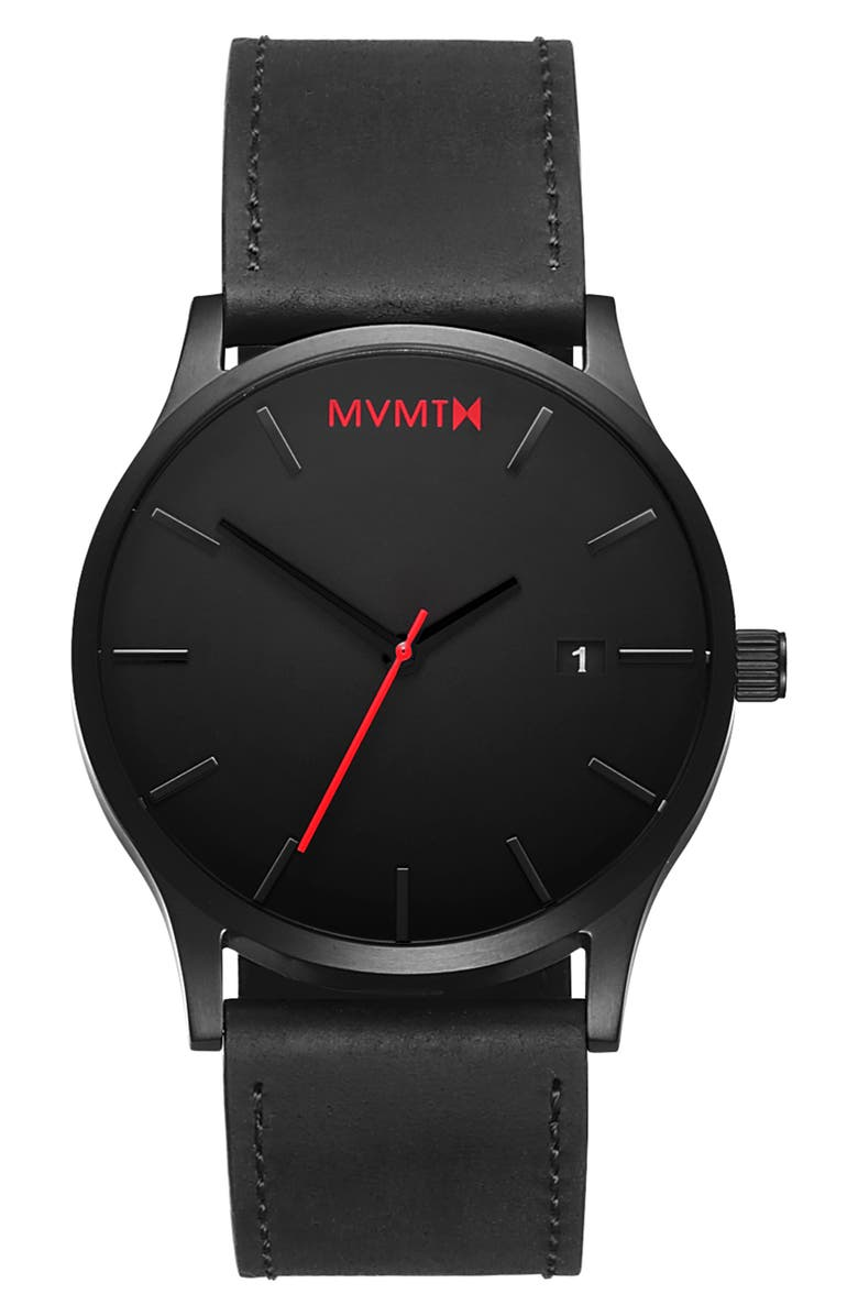 MVMT Classic Leather Strap Watch, 45mm, Main, color, BLACK