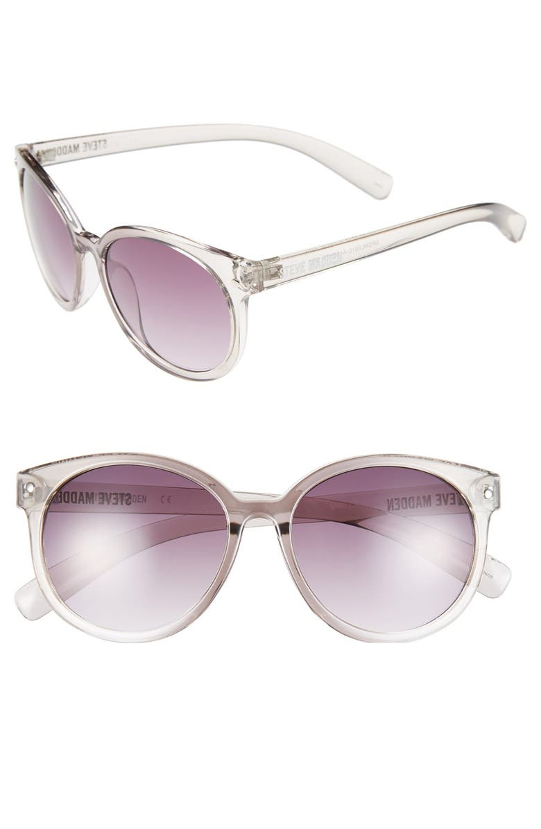 STEVE MADDEN 'Crystal' 54mm Oval Sunglasses, Main, color, 020