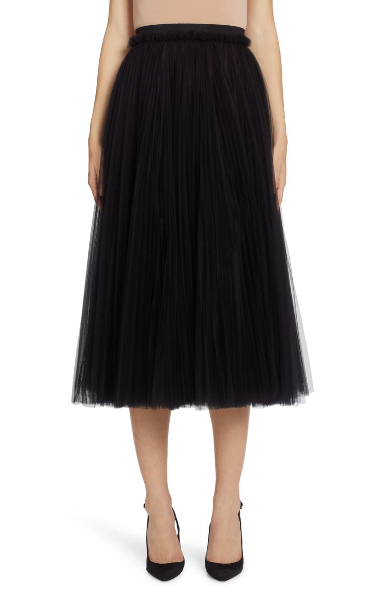 DOLCE&GABBANA Tulle A-Line Skirt, Main, color, BLACK