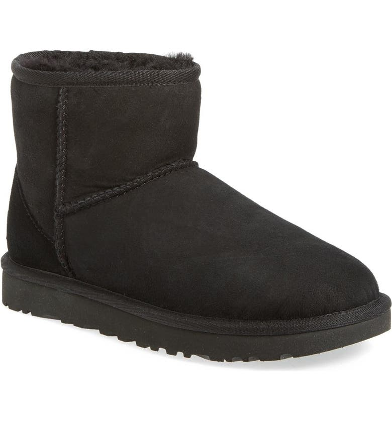 UGG<SUP>®</SUP> UGG Classic Mini II Genuine Shearling Lined Boot, Main, color, BLACK SUEDE
