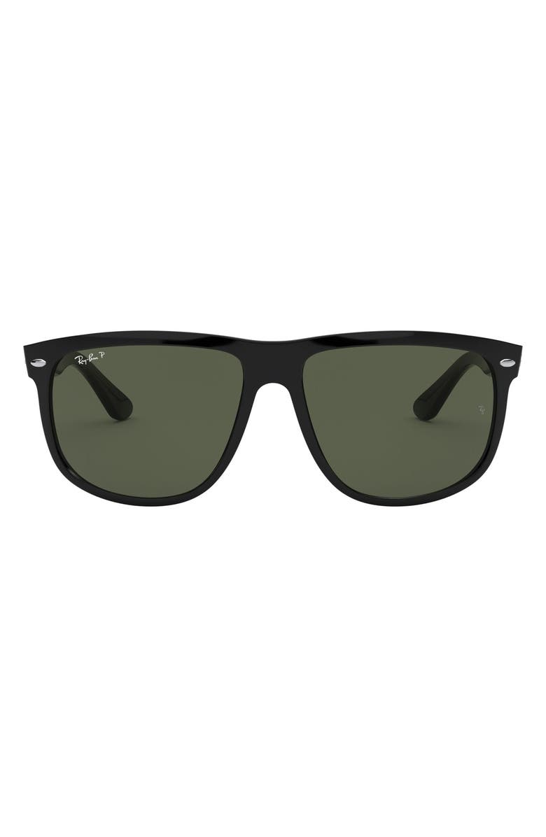 RAY-BAN Highstreet 60mm Polarized Flat Top Sunglasses, Main, color, BLACK POLARIZED