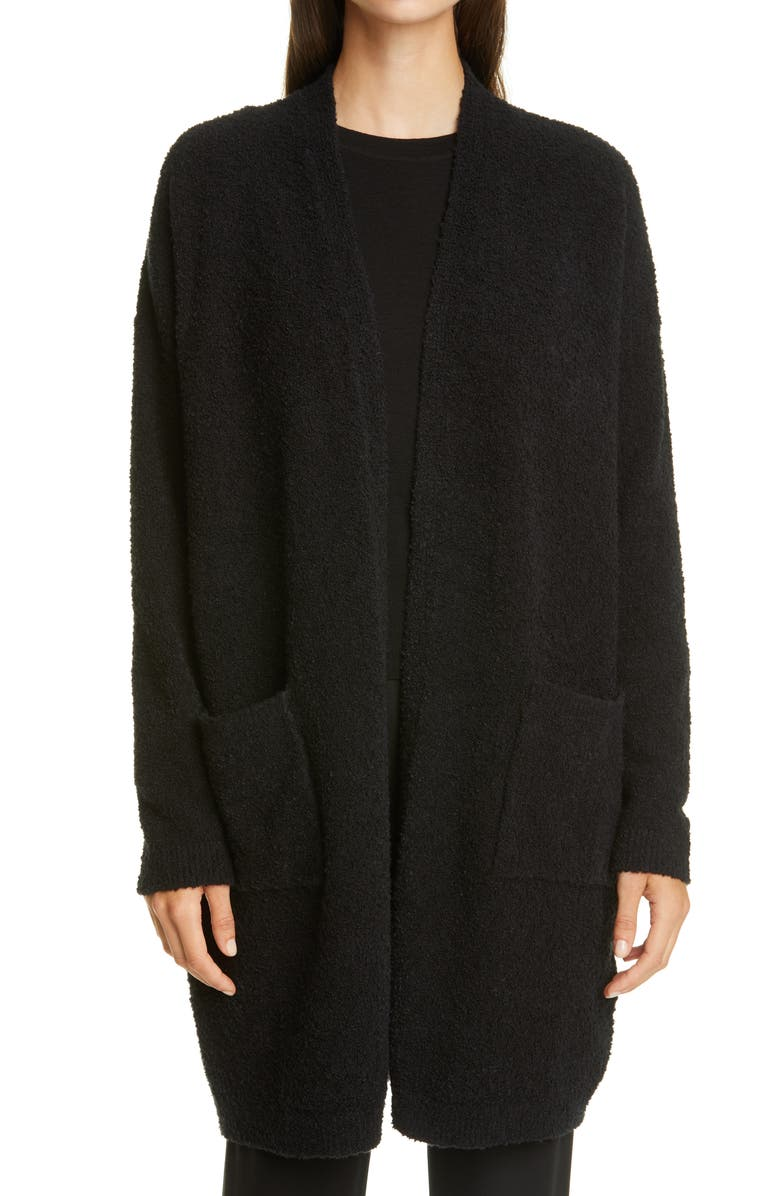 EILEEN FISHER Straight Open Front Long Cardigan, Main, color, 001