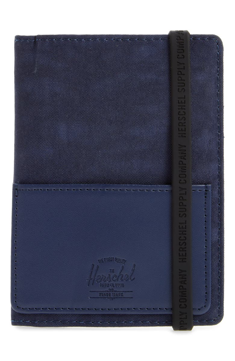 HERSCHEL SUPPLY CO. Orion Canvas & Leather Passport Holder, Main, color, PEACOAT