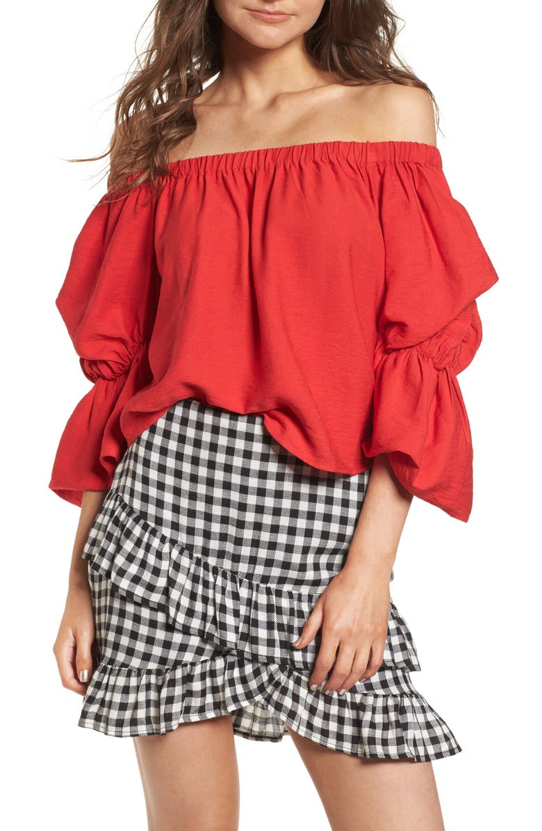 --- Puff Sleeve Off the Shoulder Top, Main, color, 600