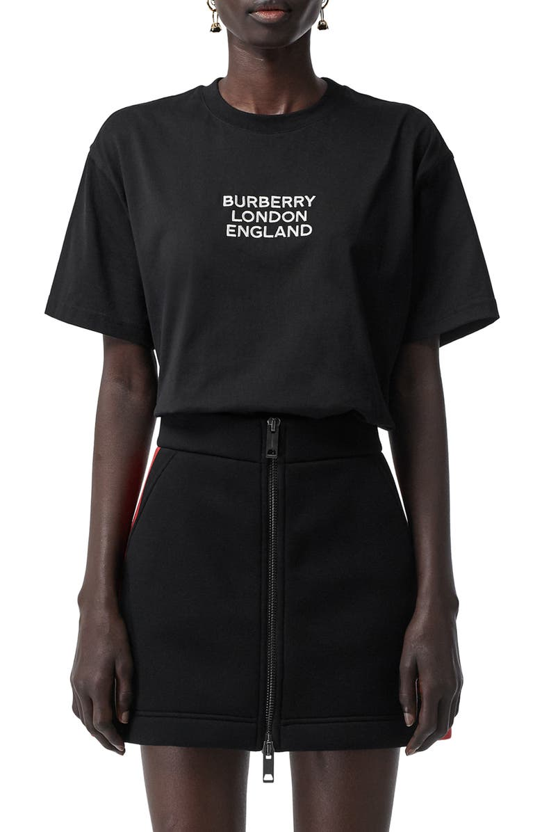 BURBERRY Carrick Logo Embroidered Tee, Main, color, 001