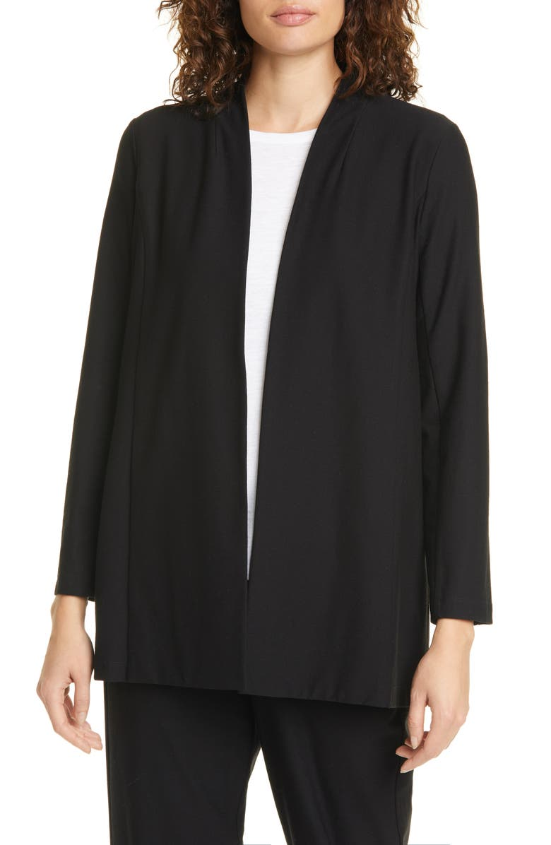 EILEEN FISHER Open Front Shawl Jacket, Main, color, BLACK