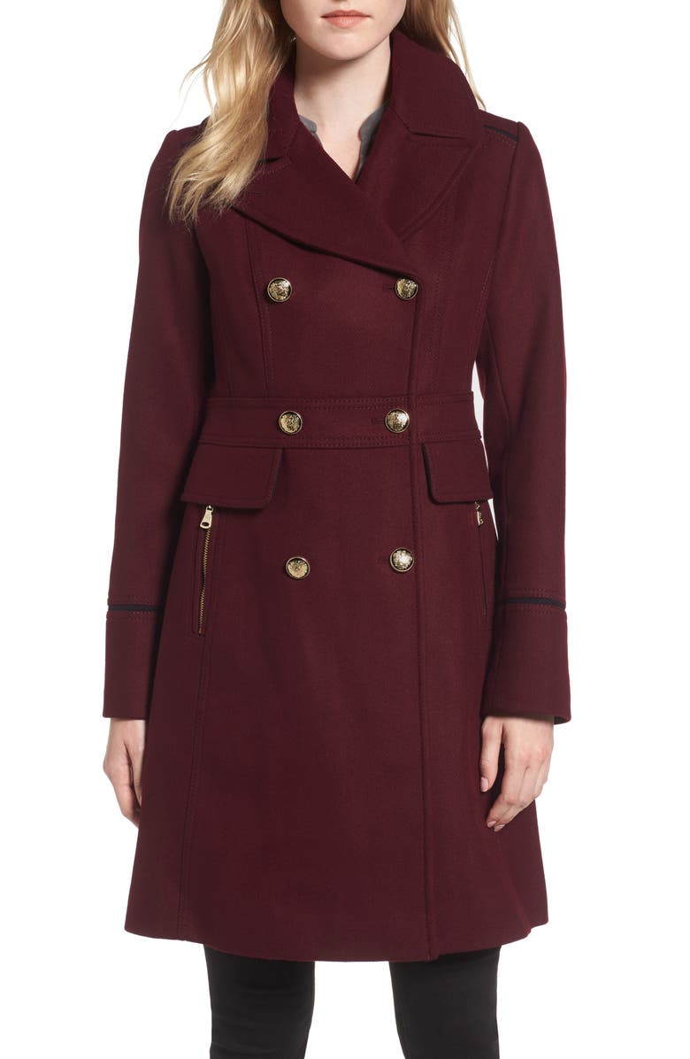 VINCE CAMUTO Wool Blend Double Breasted Officer's Coat, Main, color, BURGUNDY