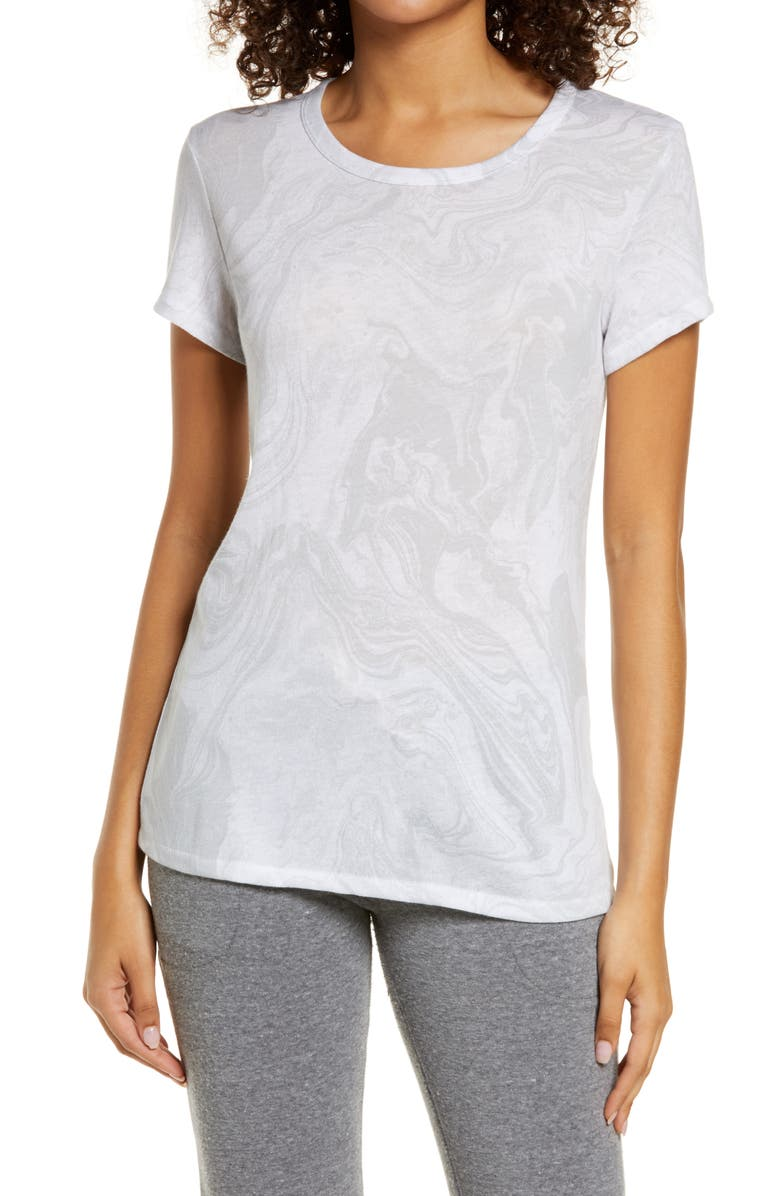 ALTERNATIVE Ideal Print Tee, Main, color, WHITE MARBLE
