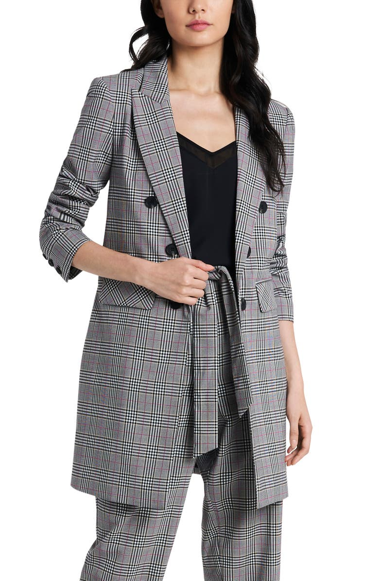 1.STATE Ruched Sleeve Longline Blazer, Main, color, RICH BLACK