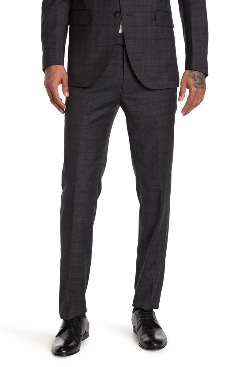 """KENNETH COLE NEW YORK Grey Plaid Performance Pants - 30-34"""" Inseam, Main, color, GREY"""