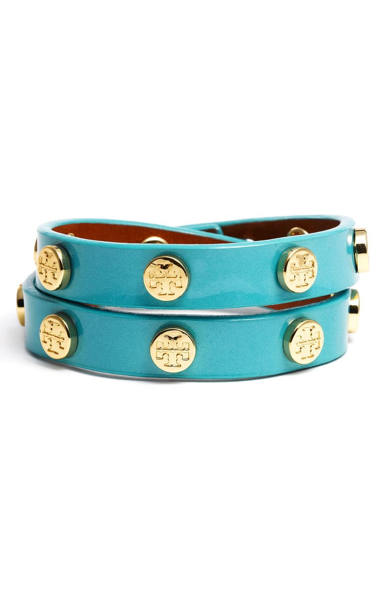 TORY BURCH Double Wrap Bracelet, Main, color, AGAVE GREEN