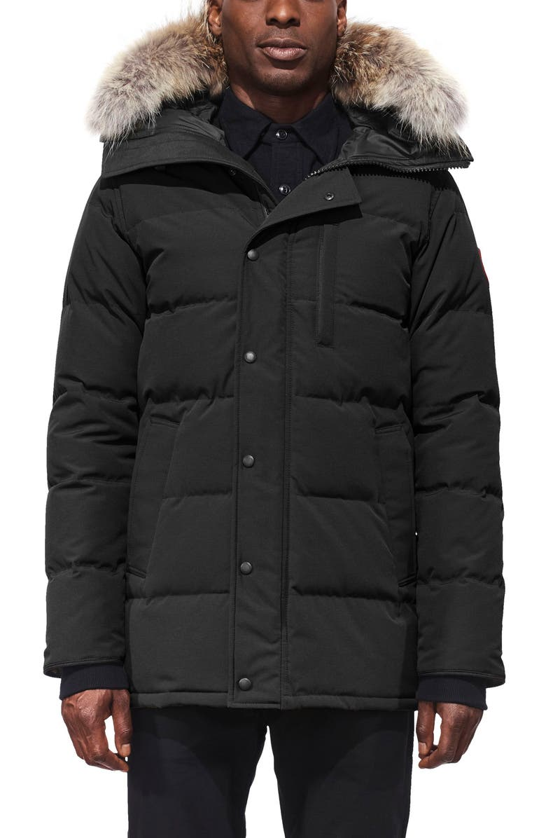 CANADA GOOSE Carson Fusion Fit Hooded Down Parka with Genuine Coyote Fur Trim, Main, color, Black