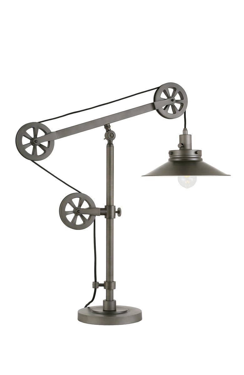 ADDISON AND LANE Descartes Aged Steel Wide Brim Table Lamp with Pulley System, Main, color, SILVER