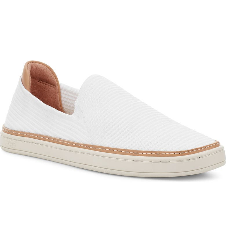 UGG<SUP>®</SUP> Sammy Slip-On Sneaker, Main, color, WHITE RIB KNIT FABRIC