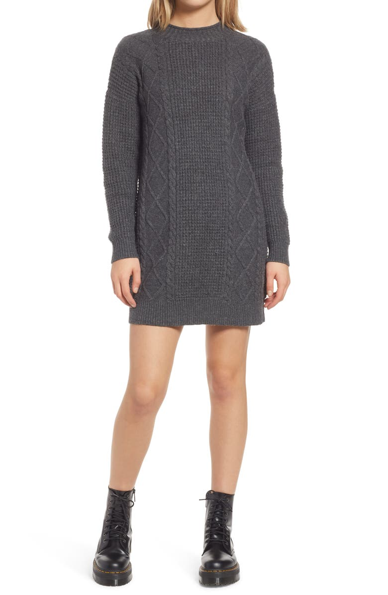 BP. Cable Knit Sweater Dress, Main, color, GREY MEDIUM CHARCOAL HEATHER