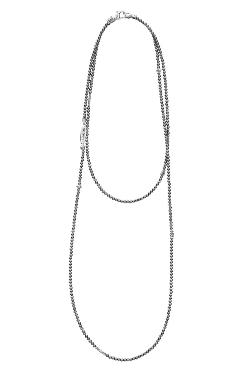 LAGOS Caviar Icon Station Necklace, Main, color, SILVER/ HEMATITE