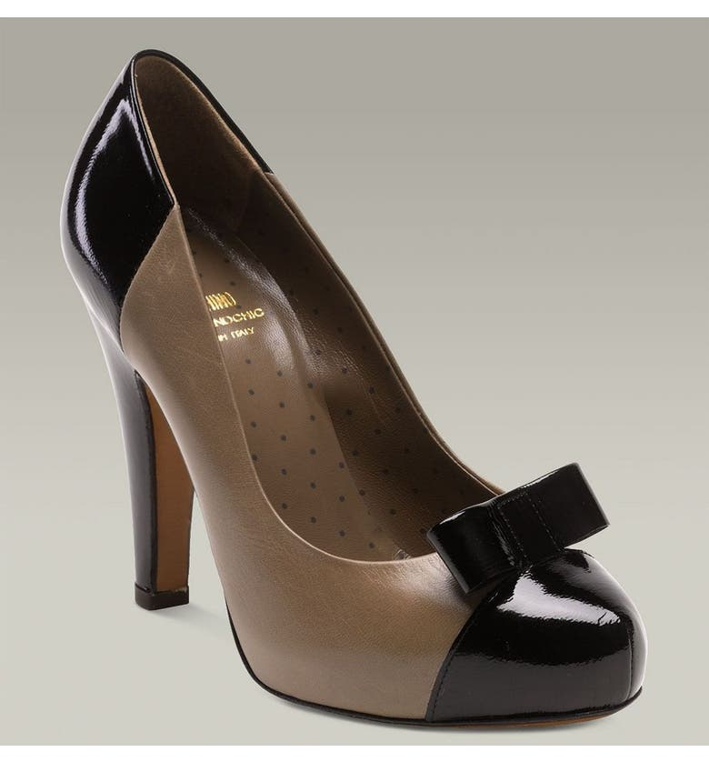MOSCHINO Cheap & Chic Pump with Bow, Main, color, MUD/BLACK