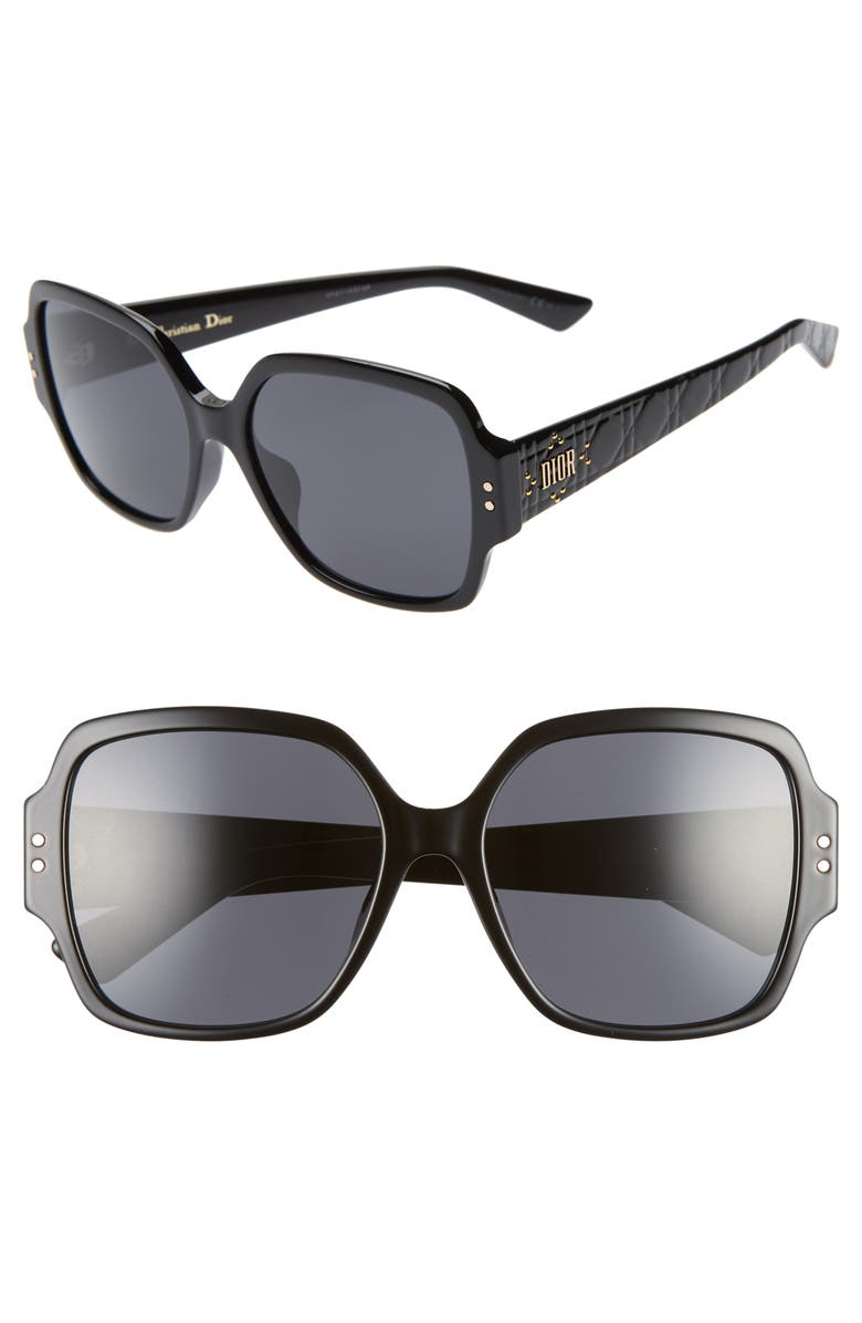 DIOR Lady Dior Stud 57mm Special Fit Square Sunglasses, Main, color, 001