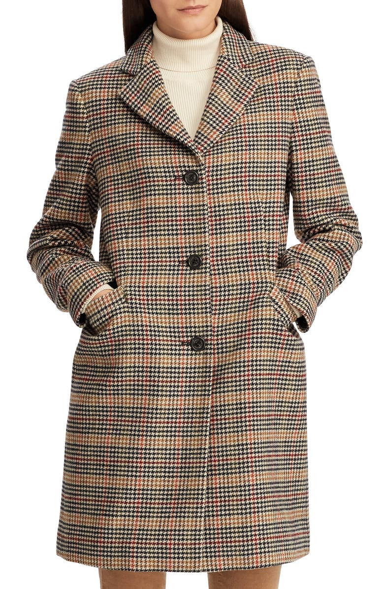 LAUREN RALPH LAUREN Wool Blend Reefer Coat, Main, color, 005