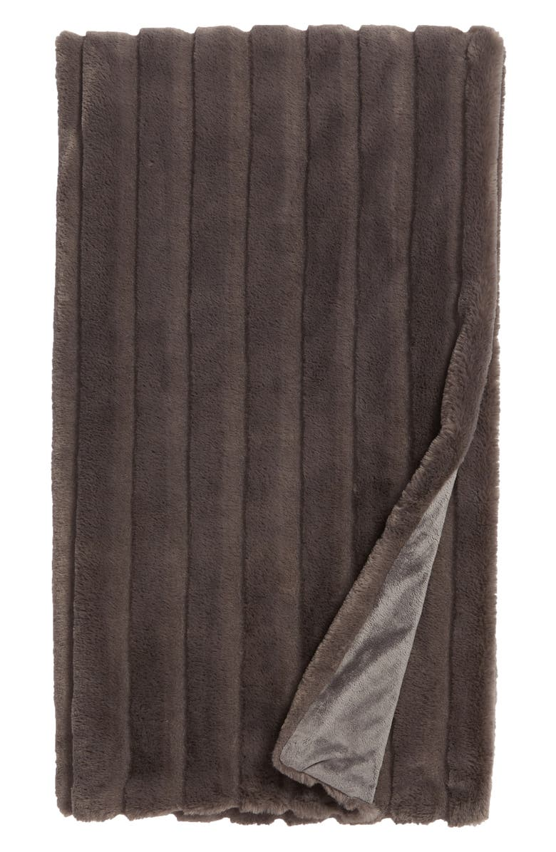 NORDSTROM at Home Sheared Stripe Faux Fur Throw Blanket, Main, color, 021