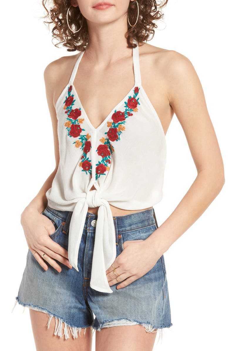 BAND OF GYPSIES Embroidered Halter Top, Main, color, 100