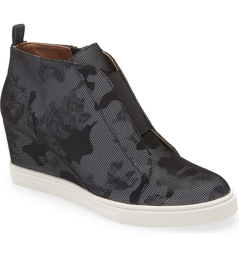LINEA PAOLO 'Felicia' Wedge Sneaker, Main, color, BLACK CAMO FABRIC