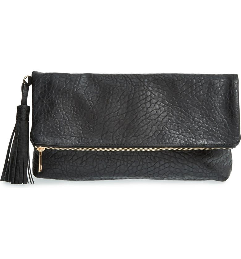 TOPSHOP 'Merino' Faux Leather Foldover Clutch, Main, color, 001